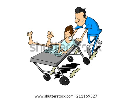 Light skinned man being rushed on gurney - stock photo