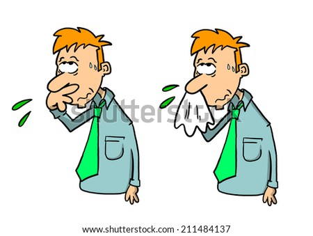 Light skinned man wiping nose with hand and blowing nose with handkerchief - stock photo