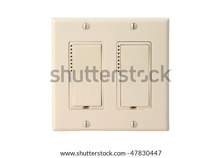 light switch on a white clean wall. - stock photo