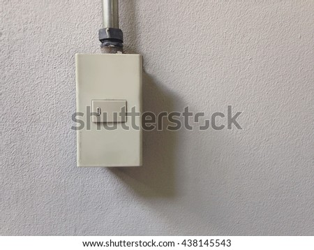 light switch on concrete wall, Concept, On Off, lighting room - stock photo