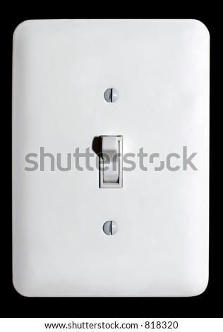 Light switch over black background - stock photo