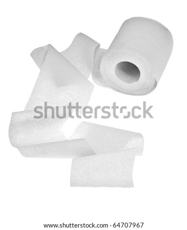light toilet paper isolated on white background - stock photo