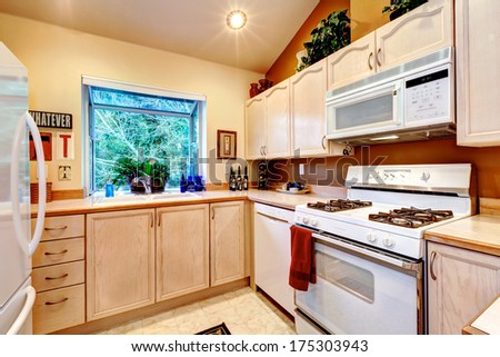 Light tones kitchen room with orange wall and white refreshing appliances - stock photo