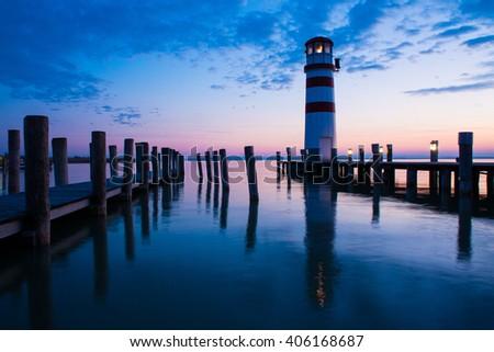 Light tower at sunset - stock photo
