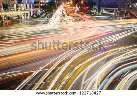 light trail of cars - stock photo