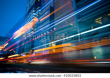 light trails in the downtown district,hongkong china. - stock photo
