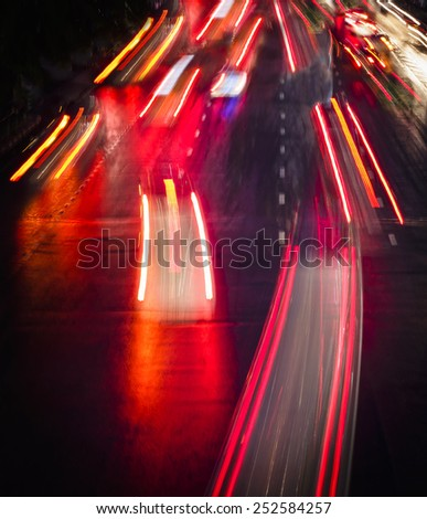 Light trails on City street at Night - stock photo