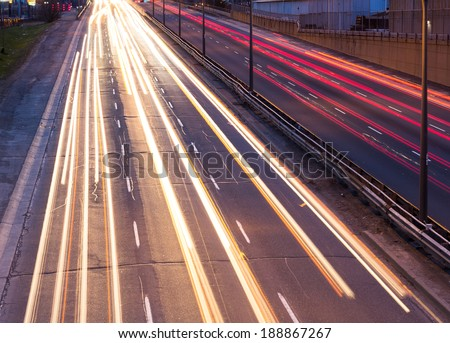 Light trails on the Gardiner Expressway in Toronto - stock photo