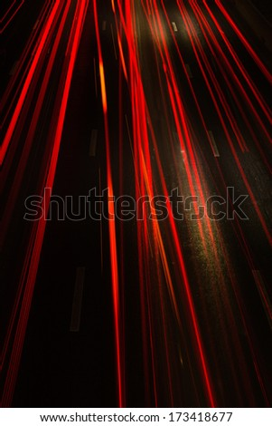 Light trails on the street - stock photo