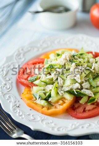 Light tuna salad with fresh cucumber and heirloom tomatoes - stock photo
