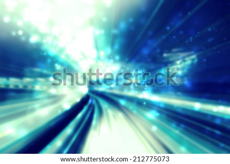 Light tunnel blue abstract futuristic pathway background - stock photo