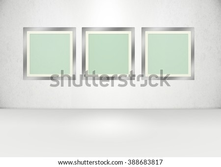 Light version, 3 frames in an exhibition style room.  - stock photo