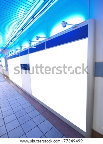 Light wall in underground passage - stock photo