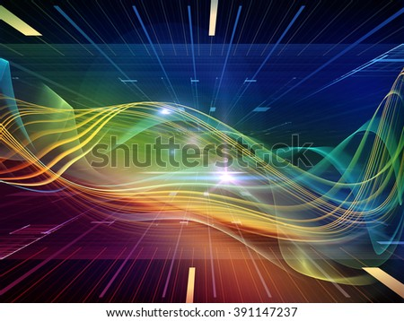 Light Waves series. Arrangement of light curves and sine waves on the subject of design, science and modern technologies - stock photo