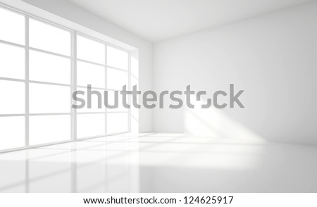 light white room and big window - stock photo