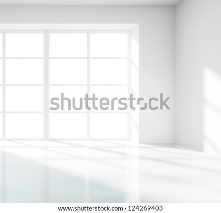 light white room with big window - stock photo