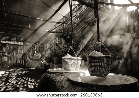 Light with a haze of boiling salt - stock photo