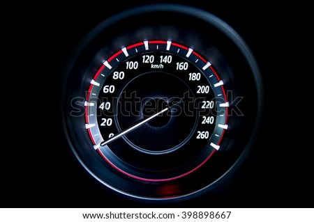 light with car mileage with black background  - stock photo