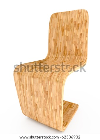 light wood chair on white background. 3D illustration - stock photo