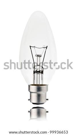 Lightbulb - Bayonet Candle Shaped with Reflection Isolated on White Background. Switched off - stock photo