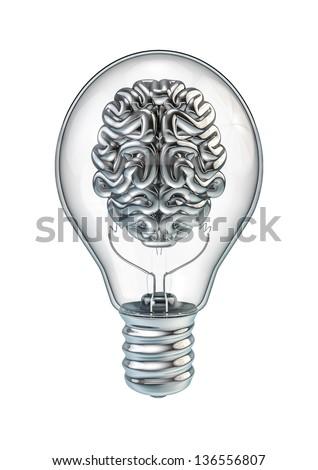 Lightbulb brain - stock photo