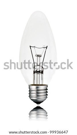 Lightbulb - Candle Shaped with Screw bottom and Reflection Isolated on White Background. Switched off - stock photo