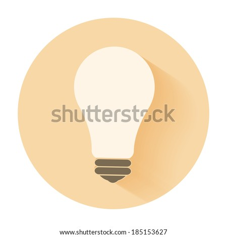 Lightbulb idea concept flat design and long shadow.. Raster version - stock photo