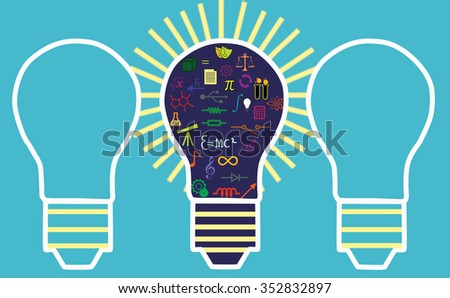Lightbulb illustration - education concept - stock photo