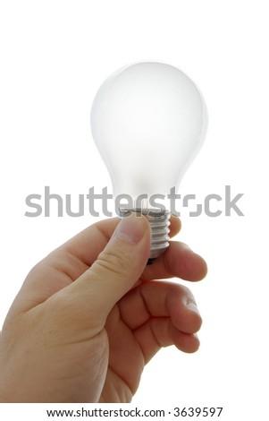 Lightbulb in a human hand isolatod on white - stock photo