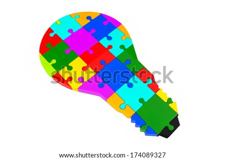 Lightbulb of the puzzle on a white background - stock photo