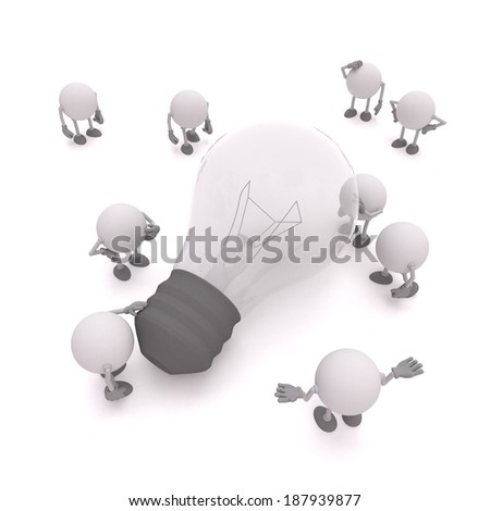 Lightbulb turned off, problem question darkness concept - stock photo