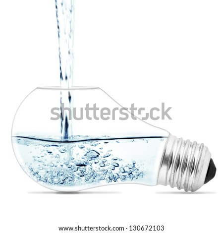 Lightbulb with a water inside. Abstract concept - stock photo
