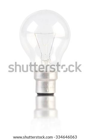 Lightbulb with Reflection Isolated on White Background - stock photo
