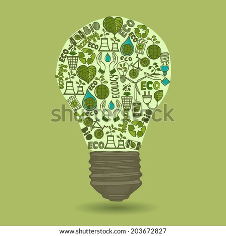 Lightbulb with sketch ecology and waste icons inside isolated on green background  illustration - stock photo