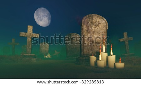 Lighted candles near the old gravestone at creepy cemetery under fantastic big moon. Realistic 3D illustration was done from my own 3D rendering file. - stock photo