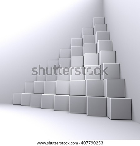 lighted pyramid of cubes in a dark room, 3D illustration - stock photo
