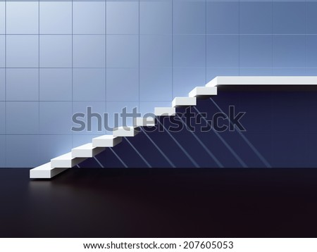 Lighted staircase. 3d render illustration - stock photo