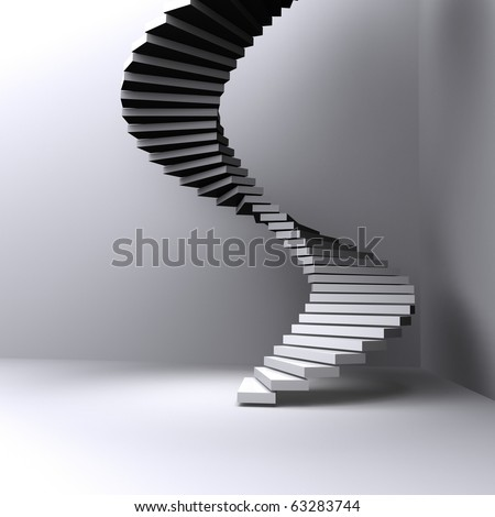 lighted stairs in a dark room - stock photo