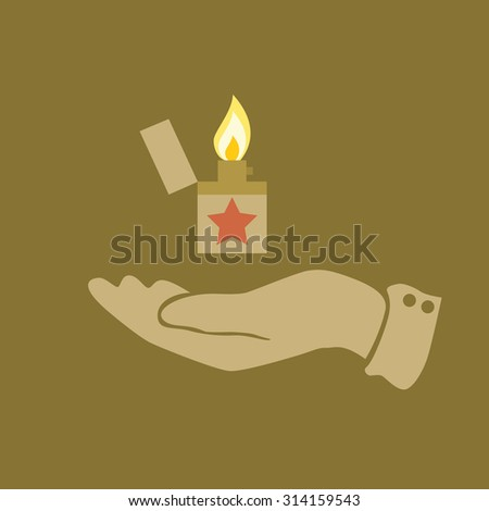 Lighter icon on hands - stock photo