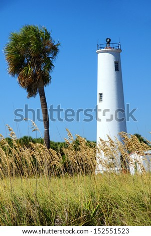 Lighthouse and a palm tree on a tropical island near Tampa Florida - stock photo