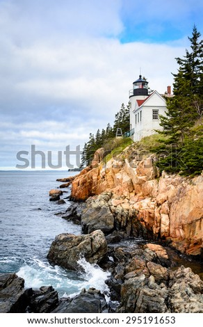 Lighthouse at Acadia National Park - stock photo