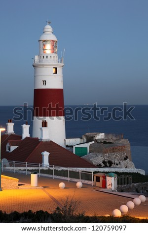 Lighthouse at dusk. Europa Point, Gibraltar - stock photo