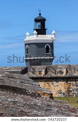 Lighthouse at  El Morro fort in San Juan,  San Juan, Puerto Rico - stock photo