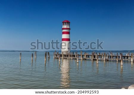 Lighthouse at Lake Neusiedl Austria . - stock photo