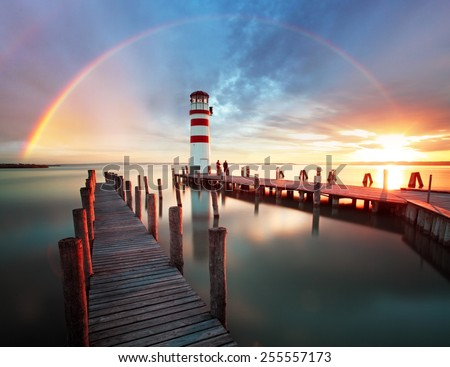Lighthouse at Lake Neusiedl - Austria - stock photo