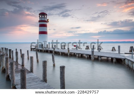 Lighthouse at sunset in Podersdorf am See, lake Neusiedler See, Burgenland, Austria - stock photo