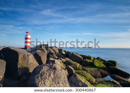 Lighthouse at the North Sea  - stock photo