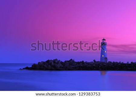 Lighthouse at Walton Santa cruz california during dusk - stock photo