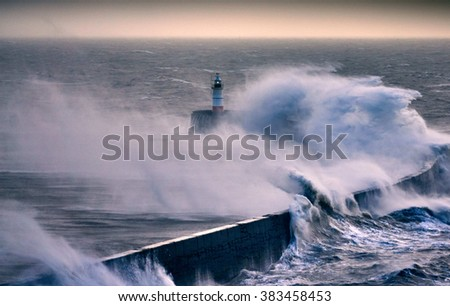 Lighthouse during Storm Imogen                                                              - stock photo
