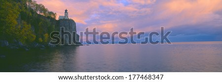 Lighthouse from 1905 at Split Rock, Lake Superior, Michigan - stock photo